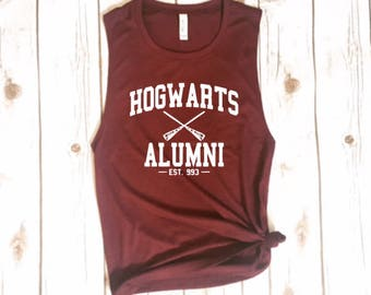 Harry Potter Hogwarts Alumni Softest Muscle Tee | Harry Potter Shirt | Harry Potter Tank | Hogwarts Tank