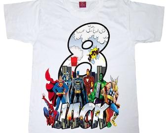 superhero birthday shirt batman superman spiderman birthday boy or girl shirt