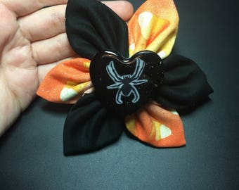 Candy corn spider fabric flower