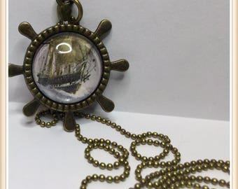 Ship Pirate Medallion cabochon necklace