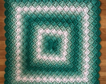"Bavarian Hand Crochetd Baby Blanket Variegated Green & White 35""X35"" Square. stroller, play pen, car seat, nap time. Ready to Ship."