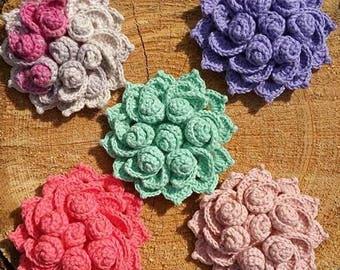 Handmade Crochet Flower Brooch. Shawl Pin. Scarf Pin.