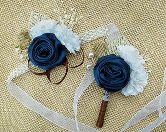 Wrist Corsage and Boutonniere Set,Rustic Bridal Wrist Corsage and Groom Boutonniere Set,Navy Blue Wrist Corsage,Navy Blue Boutonniere.