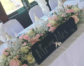 Mr and Mrs sign, Rustic wedding, top table sign, Wedding sign