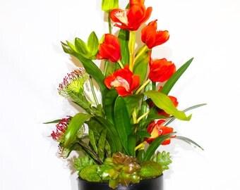 Red Orchid Floral Arrangement
