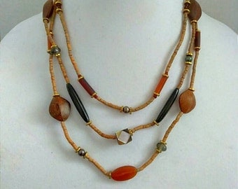 Brown, Red, Beaded Necklace, Multi-layered Necklace, Accessories, Boutique, Fashion Jewelry