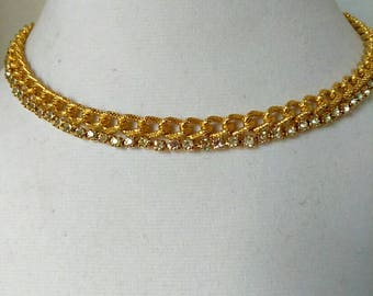Gold Rhinestone Choker Collar Necklace, Boutique, Fashion Jewelry, Vintage Necklace
