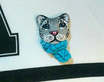 Handmade OOAK Polymer Clay Snow Leopard in a Scarf Brooch Clay Jewelry