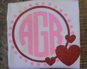 Valentine's Day circle monogram shirt