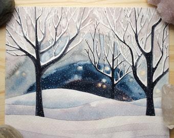 Night Snow - Original Watercolor Painting