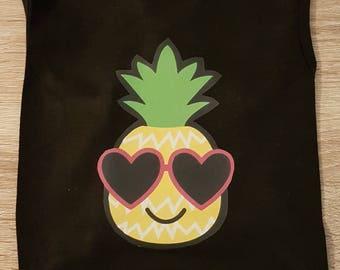 Pineapple Doggie Tank - Black Tank Top - Dog Tank Top - Dog Clothing - Dog T'shirt- Summer Dog Clothes - Cute Dog Shirt