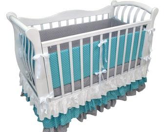 Baby crib rail guard, crib bumper, toddler bed bumper – polka dots nursery decor, polka dots baby shower  gift (059)