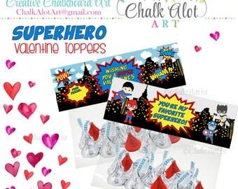 Superhero Valentine Treat Bag Toppers, Valentine Favors, Valentine's Day. Super Hero Valentines, Heros Valentine, BOY- Instant Download