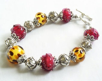 Custom Sterling Silver Bad Kitty Cheetah And Hot Pink Glass Bead Bracelet