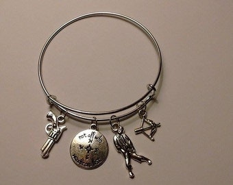 THE WALKING DEAD inspired silver bangle bracelet