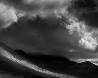 Storm Clouds, Isle of Skye, Scotland, United Kingdom, black and white, landscape, mountain, hills, clouds, fine art
