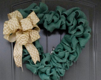 Green Heart Wreath, Door Wreath, Love Door Wreath, Wreaths, Heart Shaped Wreath