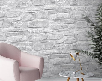 Realistic River Rock Masonry Wall Gray Stone Faux Texture