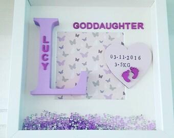 Gift for goddaughter, new baby gift, christening gift idea, goddaughter frame, godson frame,