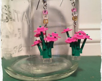 Pink LEGO Flower Bouquet Dangle Earrings