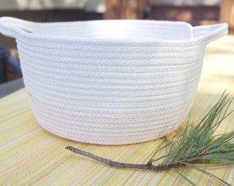 Cotton Rope Basket - Handles - Pink and Cream