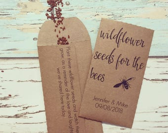Let love grow wedding favour Pack of 10 - Wildflower seeds for the bees - Rustic wedding favour