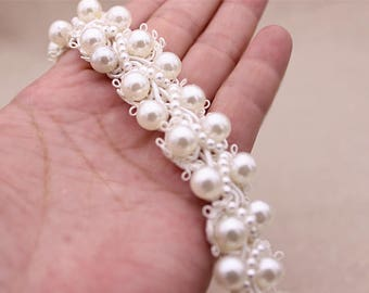 2CM in Width,pearl bead sash trim with rhinestones,pearl beaded trim, bridal sash, beaded jewelry Trim, clear beads trim