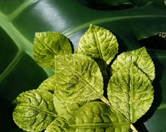 Vintage silk velvet leaves for millinery or floristry
