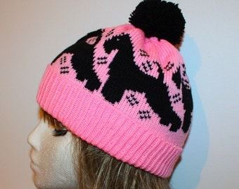 Pink Beanie with Black schnauzer dogs Hat - with the option of with or without pompom