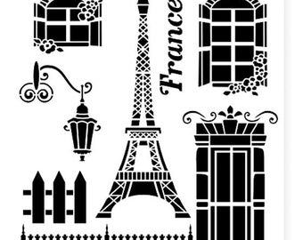 French Eiffel Tower- Background reuseable 190 micron Mylar Stencil - A5 - A4 - A3 - Free UK P & P