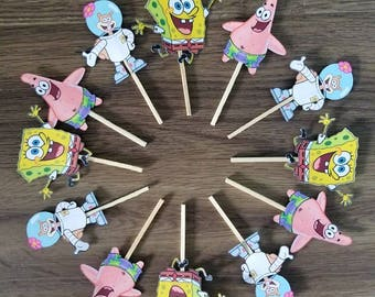 Spongebob squarepants and friends cupcake toppers. Sandy cheeks and Patrick star