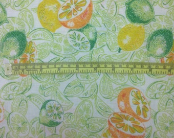 Mid-century / 1960s Lightweight Cotton Oranges-Lemons-Limes Retro Print (Quilting, Apparel, Clothing, Garment Sewing)