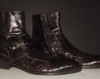 Vintage beautiful nazareno carelli faux alligator brown leather ankle shoe boots  size 43   11us