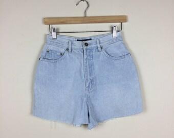 90s High Waist Denim Shorts Size 25, Light Wash 90s Denim Shorts, 90s Denim Shorts 25