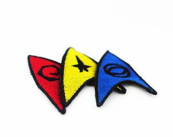 Set of 3 Star Trek Insignia Patches, Command Patch, Operations Patch, Sciences Patch, Iron On Star Trek Patch, Fandom Patch, Cosplay Patch