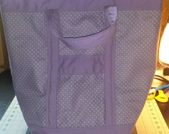 Lilac and Polka Dot Deluxe Fabric Tote - New Reduced Price!