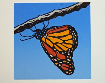 Monarch Butterfly Lino Print