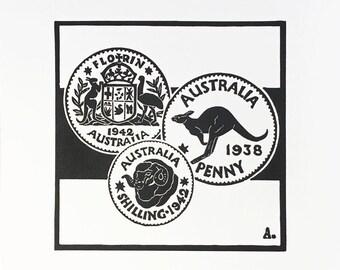 Australian Coins Lino Print