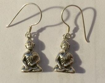 Sterling Silver Sitting Buddha Earrings