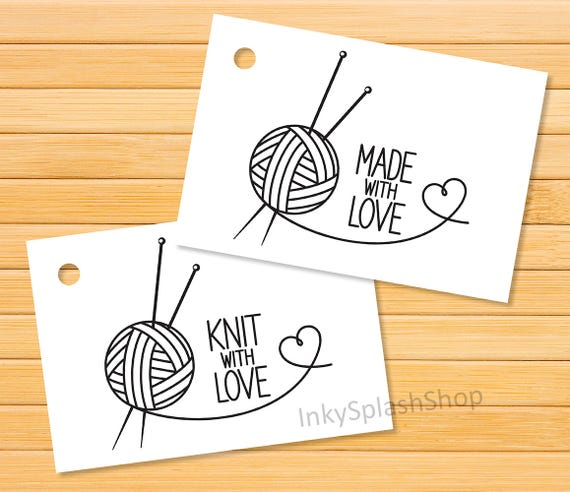 Knit with love tags printable knitting tags for handmade for Hand knit with love labels
