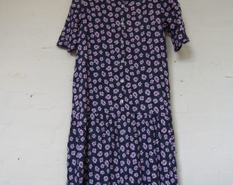 Blue & Pink Floral Maternity Dress - 90s Dorothy Perkins - size 12