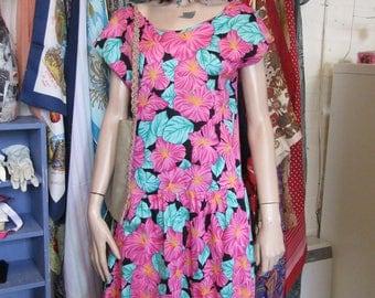 Tiki Print Drop Waist Summer Dress - Size 14