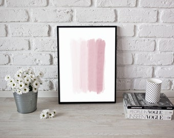 Pink Paint Strokes Poster, Shades of Color, Wall Art, Painting, Watercolor
