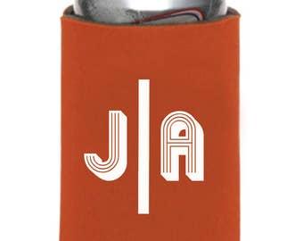 Personalized Huggers, Monogrammed, Custom, Wedding, Collapsible Neoprene, Can, Beer, Modern