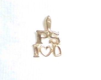 Vintage 14k Gold P.S. I LOVE U YOU Pendant for Necklace Chain 14k Embossed Diamond Pattern Estate Marked 14 k kt 14kt Heart Kisses Figural