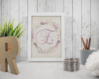 Printable letter E wall decor INSTANT DOWNLOAD