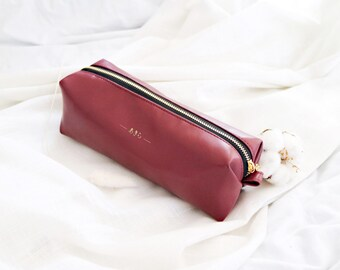 Pencil pouch / Leather pencil case / personalised pencil case / WINE / DARK RED color