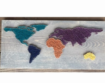 World Map - Made to Order (3-5 business days to process) 11x20in - String art
