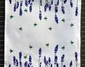 "Linen-cotton tea towels ""Lavender and Bees"" from original blockprint designs, kitchen towels"