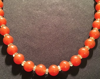 Vintage Carnelian Colored Bead Necklace